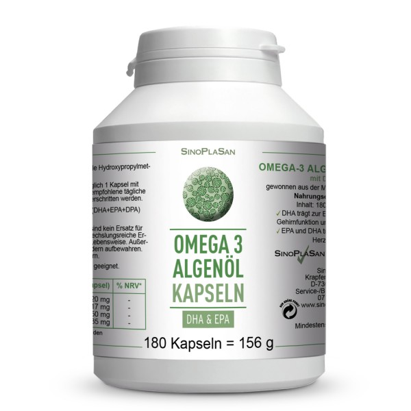 Omega-3 Algenöl DHA+EPA 180 Kapseln