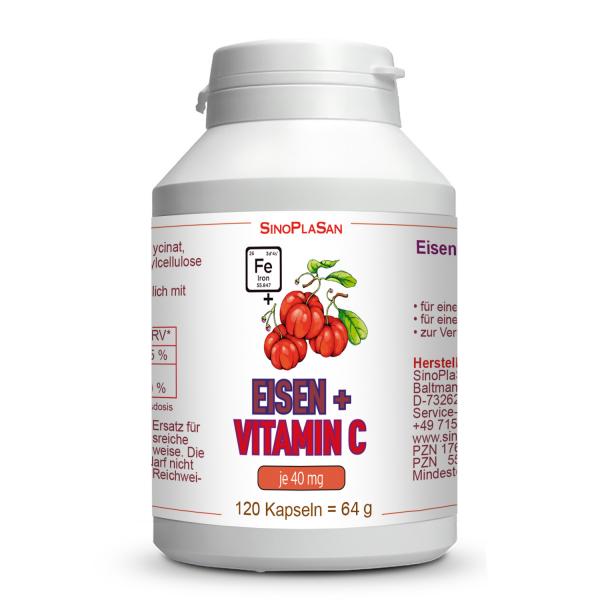 Iron 40 mg + Vitamin C 40mg 120 capsules